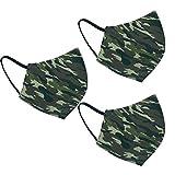 Pack 3 Mascarillas reutilizables y lavables hasta 50 veces de tela homologada verde militar camuflaje ejercito (M)