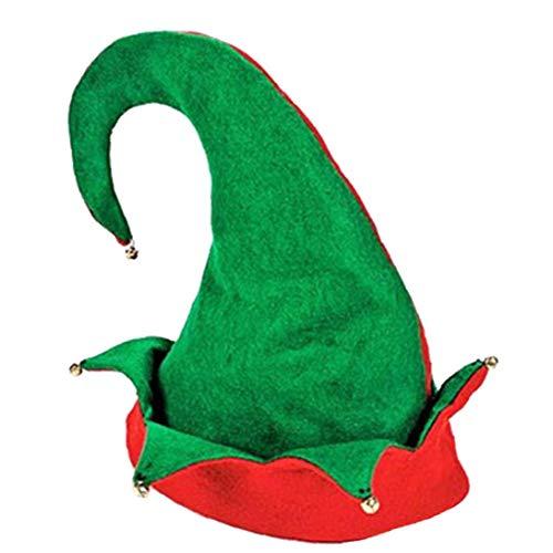 Funny Party Cappelli Cappello Elfo Di Natale in Feltro Cappello Dell'elfo Con Jingle Bells Orecchie Santa Cappelli Per Adulti Cappelli Di Natale