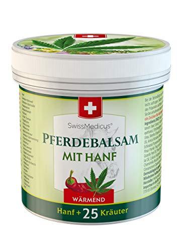 SwissMedicus Pferdebalsam mit Hanf wärmend, ideal für Sportler, Traditionelle Schweizer Rezeptur, Natürliche Pflanzenextrakte, alltäglicher Gebrauch - Pferdesalbe 500 ml