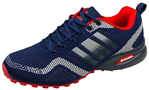 gibra® Herren Sneaker Sportschuhe, leicht und bequem, dunkelblau/rot, Art. 7737, Gr. 44