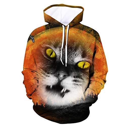 MAYOGO Herren Herren Damen Kapuzenpullover Halloween Digital Muster 3D Hoodie Männer Kordelzug Kapuzenpulli Unisex Sweatshirt Kapuze Pulli Sportjacke Pullover