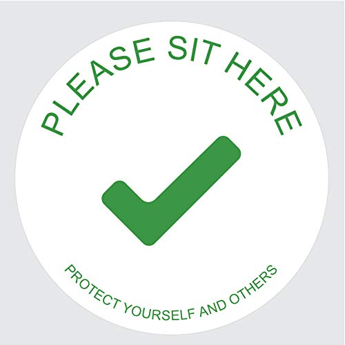 """Sticky Brand Sit Here Sign Sticker – Social Distancing Chair Signs – Office, Car or Restaurant Sign – Distance Decal Covid Signs for Businesses - 4"""" White/Green, 100 Sticker Roll"""