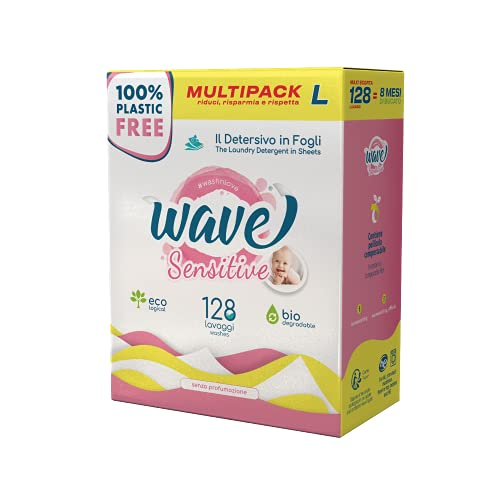 Wave Washing Sensitive - Il Detersivo in Fogli - 100% PLASTIC FREE - Multipack L - 128 Lavaggi - Ecologico - Biodegradabile - Compostabile