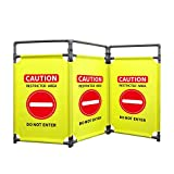 3 Panels Safety Barricade 5.8FT Foldable Security Sign Barrier Gate with Heavy Duty PVC Frame High Visibility Caution Symbol Crowd Control Restricted Area Pedestrian Barricade'DO NOT Enter' Yellow