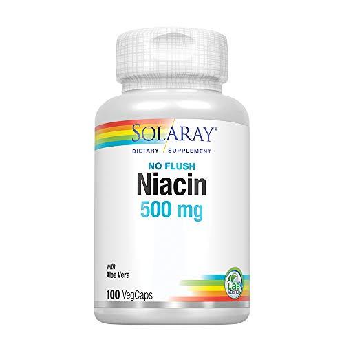 Solaray Niacin, No Flush 500mg   Vitamin B-3 for Healthy Skin, Circulatory, & Nervous System Support   Non-GMO & Vegan   100 VegCaps