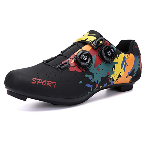 Women's 2021 Road Bike Indoor Cycling Shoes Compatible with Cleat SPD and Delta for Lock Pedal Mountain Biking Shoes Graffiti Black