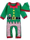 MOMBEBE COSLAND Mono Bebé Niño Manga Larga Disfraz Elfo de Navidad Gorro (Duende de Navidad, 12-18 Meses)