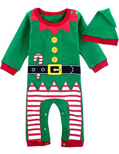 MOMBEBE COSLAND Mono Bebé Niño Manga Larga Disfraz Elfo de Navidad Gorro (Duende de Navidad, 9-12 Meses)