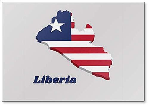 Kühlschrankmagnet, Motiv Karte & Flagge von Liberia