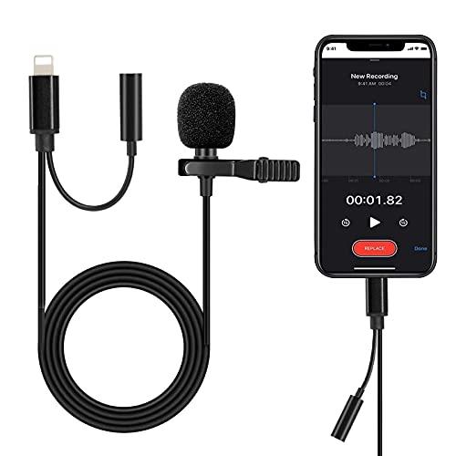 Hearkey ピンマイク iPhone/iPad用 コンデンサーマイク クリップ式 3.5mmヘッドフォンジャック搭載 全方向性 ミニ スマホマイク 防風 小型 1.5m長さケーブル ライトニングポート 録音/カラオケ/撮影/YouTube動画/インタビュー/会議用マイク