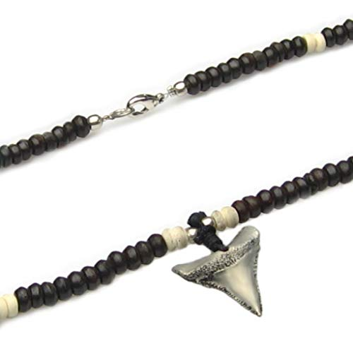 Vantuatu Australia Mens Beaded Necklace Shark Tooth Metal Pendant Tusk Beads Man String Beach Surfer Boys Choker Holidays Party Gift