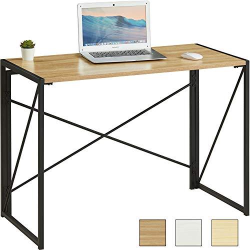 MSmask Schreibtisch Klapptisch Computertisch 101 x 50 x 75 cm tragbar Konferenztisch Esstisch stabil platzsparend Laptop Tisch Hölzerner Tisch plattenmetallrahmen für Zuhause, Büro,Picknick, Garten