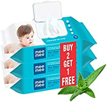 Mee Mee Baby Gentle Wet Wipes with Aloe Vera extracts and Fliptop Lid |72 pcs| Pack of 3