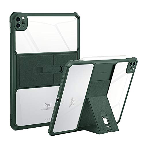 HaoHZ Case for Ipad Pro 12.9 2020, Ultra Slim Clear Protective Back Cover with Magnetically Adjustable Stand, Shock Absorption Soft TPU Edge Bumper,Green