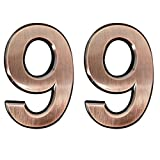 2 Pieces Self-Adhesive House Numbers- 2.75 Inch High Door Address Stickers for Apartment/Mailbox Number, Bronze, Number 9