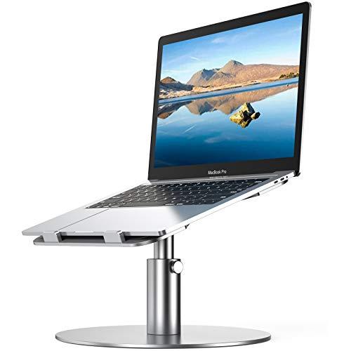YoFeW - Soporte ajustable para portátil (aluminio, altura multiángulo, rotación de 360º, rotación de 360º, compatible con Mac MacBook Pro Air, Lenovo, Dell XPS, HP (10 – 17 pulgadas) (plata)