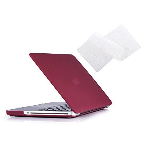 MacBook Pro 13 Case 2012 2011 2010 2009 Release A1278, cubierta rígida de Ruban Hard Case y funda con teclado para Apple MacBook Pro de 13 pulgadas con CD-ROM - Rojo vino