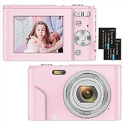 Fotocamere Digitali Compatte 1080P HD Macchina Fotografica 36 Mega Pixel 2,4 Pollici LCD Ricaricabile Vlogging Mini Video Fotocamer Digitale Zoom Digitale 16x, per Adulti, Anziani, Bambini(Rosa)