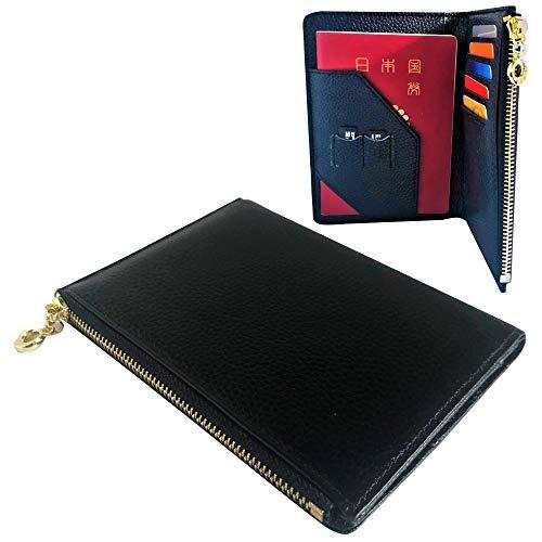 La Caro パスポート ケース スキミング防止 財布 革 レザー ウォレット おしゃれ かわいい レディース (ブラック)
