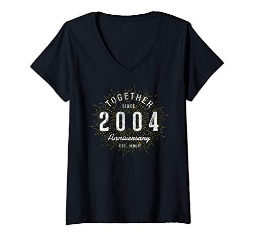 Mujer 17 Años Juntos Desde 2004 17 Aniversario Camiseta Cuello V
