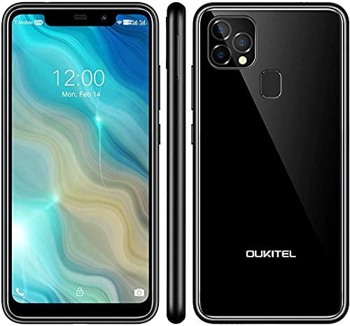 OUKITEL C22 - Smartphone libre (2021), 128 GB + 4 GB, Android 10 con 256 GB ampliable, pantalla de 5,86 pulgadas, 4000 mAh de identificación facial + huella dactilar GSM 4G LTE Dual SIM (negro)