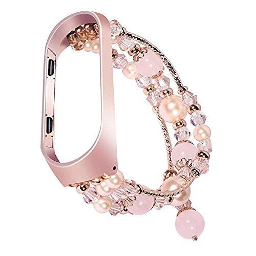 SUNEVEN - Correa de Repuesto para Xiaomi Mi Band 3/4, diseño de ágata de Cristal + Carcasa de Metal para Mujeres y niñas, Color Rosa