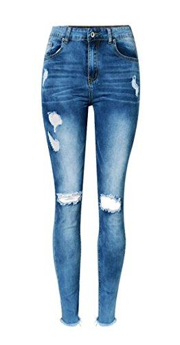 Preisvergleich Produktbild iRachel Damen Jeans Hose Skinny Röhrenjeans Bleistifthose Hose Denim Dünn Rise Ripped Loch Bleistift Hose