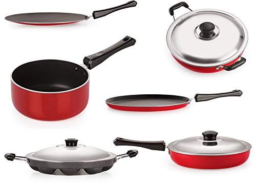 Nirlon Aluminum Cookware Set Standard ,6-Pieces,Black and Red