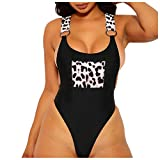 Bikini De Tanga para Mujer Traje De Baño De UNA Pieza Sexy Conjunto De Natación Push-Up De Cintura Alta Ropa De Playa Black