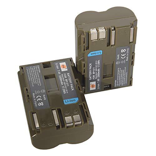 DSTE 2-Pack Ersatz Batterie Akku for Canon BP-511 BP-511A EOS 10D 20D 20Da 300D 30D 40D 50D 5D D30 D60 DM-MV100X DM-MV100Xi DM-MV30 DM-MV400 DM-MV430 DM-MV450 DM-MVX1i Kamera
