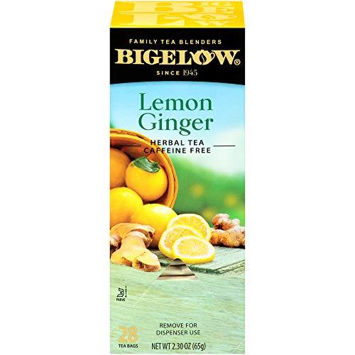 Bigelow Lemon Ginger Herbal Tea Bags 28-Count Box (Pack of 1) Lemon Ginger Tea Bags Herbal Tea All Natural Gluten Free