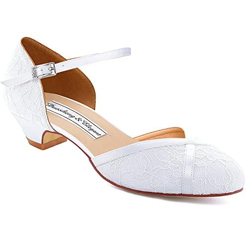 Duosheng & Elegant HC2023 Zapatos Novia Tacon Bajo con Punta Cerrada Zapatos...