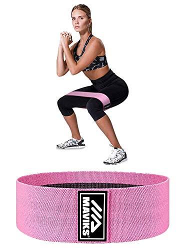MAVIKS Bandes de résistance pour jambes, fessiers et hanches antidérapantes élastiques pour exercices à domicile, exercices de fitness pour femmes et hommes (Rose)