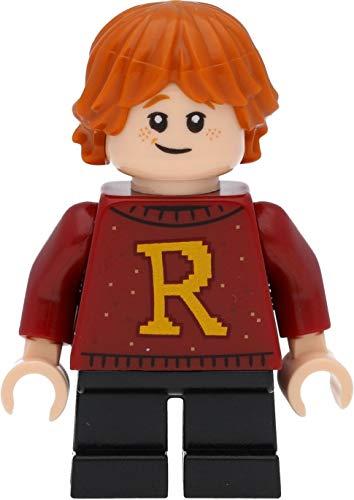 LEGO Harry Potter Minifigure Ron Weasley (maglione rosso scuro con R) con bacchette magiche