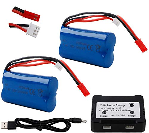 Hootracker Rechargeable Li-Ion Battery 7.4V 1500mAh Universal JST Plug for HUANQI 957 948 MJX T10 T11 T34RC FT007 RC Car Helicopter Boat Series