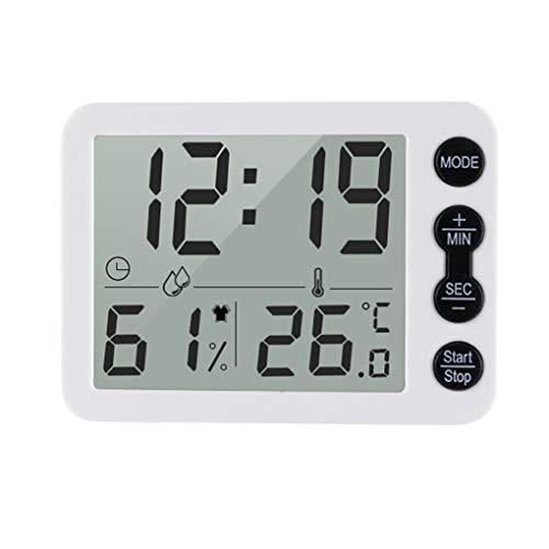 zhibeisai Digital Hygrometer Thermometer Wecker Feuchte Raumtemperatur Meter-Messgerät Desktop Clock