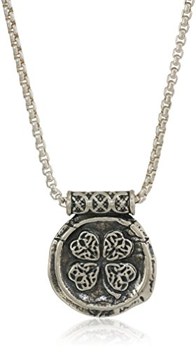 Alex and Ani Men's Four Leaf Clover 32-Inch Pendant Necklace, Sterling Silver, Expandable