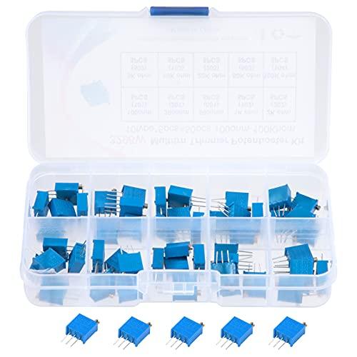 Trimmer Potentiometer Variabler Widerstand 100 200 500 1K 2K 5K 10K 20K 50K 100K Ohm 10 Wert 3296W Sortiment Kit mit Aufbewahrungsbox 50 Stück