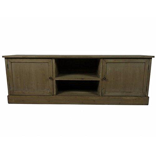 L'Héritier Du Temps TV-meubel, TV-console, voor woonkamer, grote onderkast, planken van hout, gepatineerd, 32,5 x 53 x 155 cm