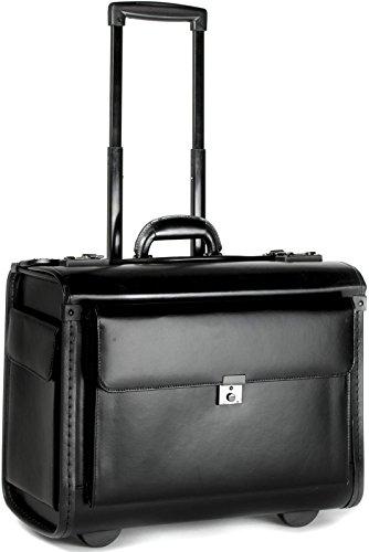 Business-Pilotenkoffer Mit Laptopfach - Business Trolley mit Rollen, Kabinengepäck, Bordgepäck, Lederfaserstoff – Handgepäckgröße