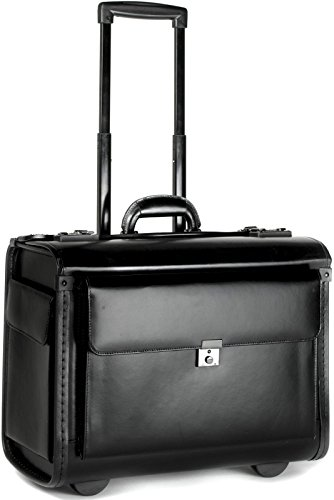 Tassia Black Bonded Leather Large Pilot Case - Twin Gun Metal...