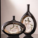 DDMX Adornos en Forma de Jarrón, Luz Creativa Escandinava Moderna, Adornos Decorativos para el Hogar, Artesanía de Cerámica para la Sala de Estar. Black-Set