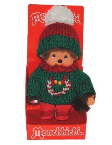 alles-meine.de GmbH Monchhichi mit Strick Pullover und Strickmütze - ausziehbar - Monchichi Winter Weihnachten Verkleidet