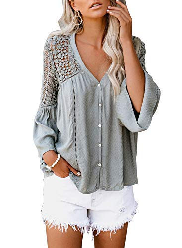 FARYSAYS Women's Summer Autumn Bell Sleeve V Neck Button Down Shirts Crochet Hollow Out Casual Blouses Tops Grey Small
