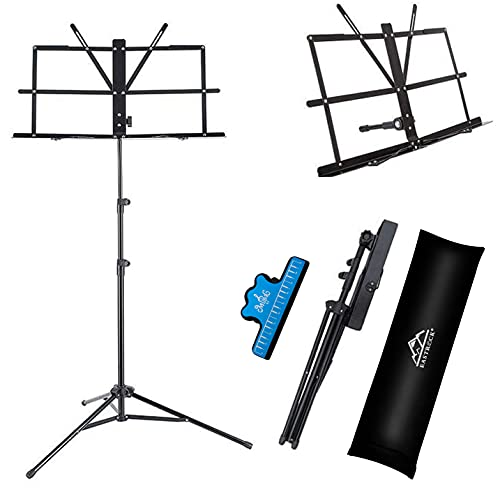 EASTROCK Music Stand 2 in 1 Dual-Use Sheet Music Stand Desktop Book Stand Lightweight...