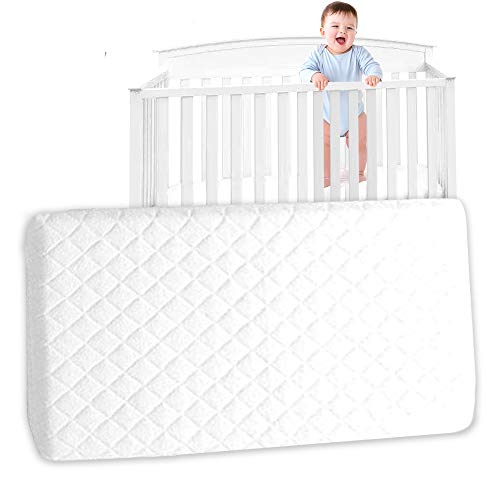 Baby Travel Cots Mattress Toddler Crib Nexttome Foam Moses Basket Comfort Bedding Mattresses Wedge Flathead Pillow Quilted Breathable With Removable Cover Waterproof Protector (120 x 60 x 7.5 CM)