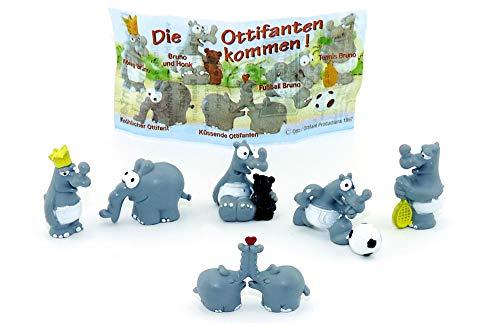 Kinder Überraschung Ottifanten Figurensatz von Otto Waalkes mit Beipackzettel (6 Figuren der Serie - von Firma Brandt)