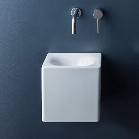 Scarabeo 1521 No Hole Cube Square Ceramic Wall Mounted Vessel Sink White Amazon Com