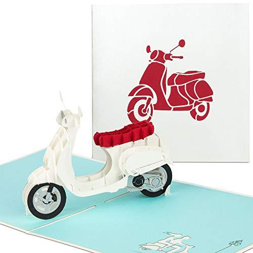 PaperCrush® Pop-Up Karte Roller - 3D Geburtstagskarte mit Motorroller, Handgemachte Grußkarte inkl. Umschlag