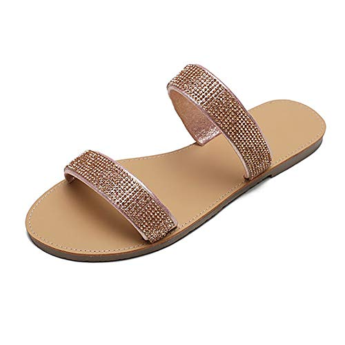 LOVEXIN Zapatillas de Playa para Mujer Lentejuelas Brillantes de Verano Peep Toe Abierto Zapatos Casuales Planos Zuecos y Mulas Sandalias de Diapositivas,Rosado,41EU